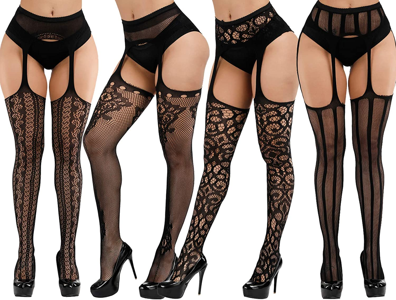 Plus Size Fishnet Stockings Black Fishnet Tights Thigh High Stockings Suspender Pantyhose 4 Pack