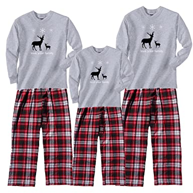 nordic reindeer grey pajama set adult small ls crb plaid pants