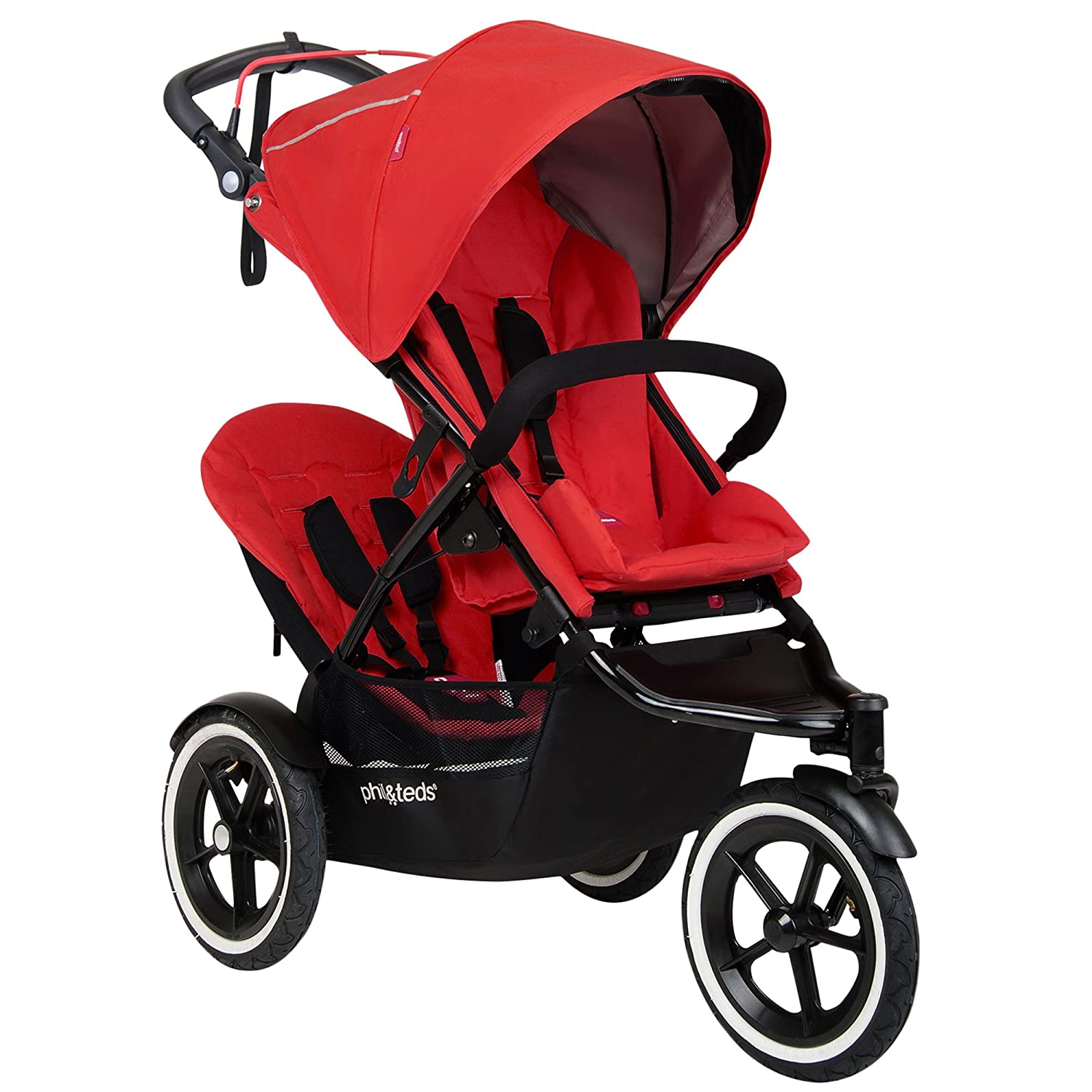 Phil Teds Sport All Terrain Inline Stroller With Double Kit Black Auto Stop Safety Brake All Terrain Air