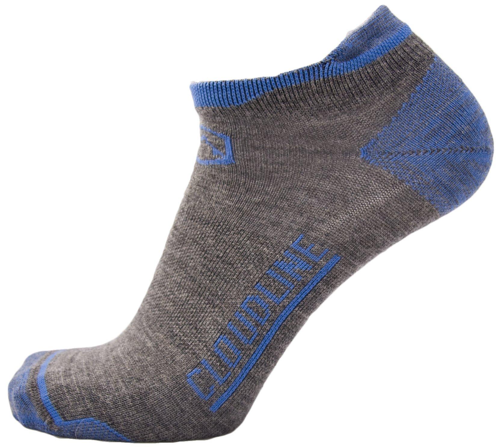 CloudLine Merino Wool No Show Athletic Tab Ankle Running Socks - Ultra Light - Medium Glacial Blue - for Men & Women