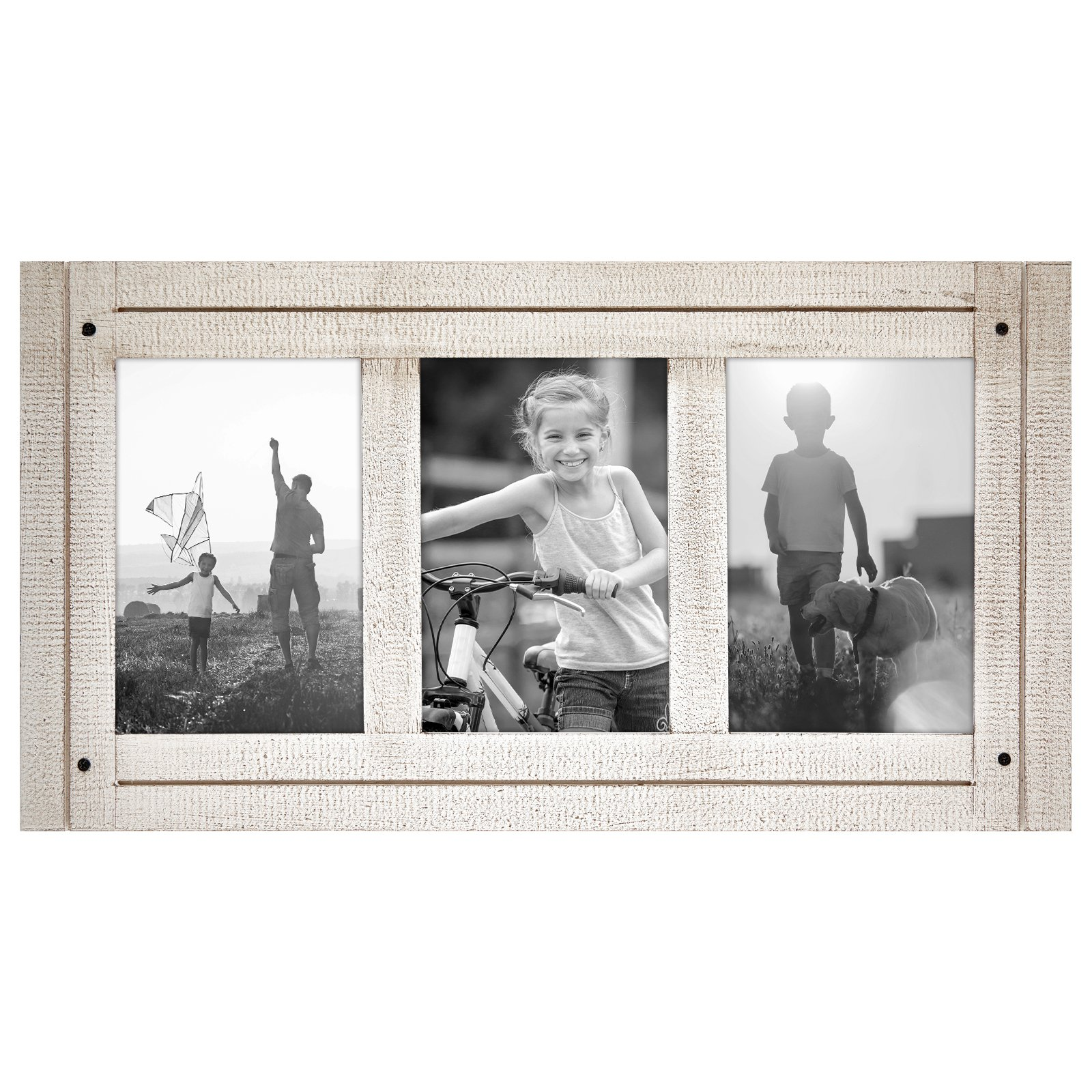 Americanflat 4x6 Aspen White Collage Distressed Wood Frame - Made to Display 3 4x6 Photos - White - Ready to Hang on Wall or Stand on Tabletop by Americanflat