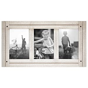 Americanflat 4x6 Aspen White Collage Distressed Wood Frame - Made to Display Three 4x6 Photos - White - Ready to Hang on Wall or Stand on Tabletop