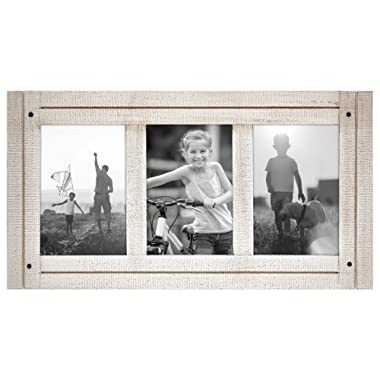 Americanflat 4x6 Aspen White Collage Distressed Wood Frame - Made to Display 3 4x6 Photos - White - Ready to Hang on Wall or Stand on Tabletop