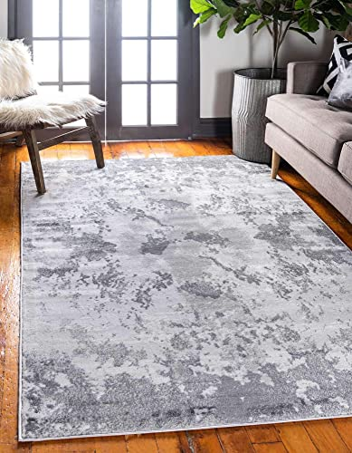 Unique Loom Metro Collection Abstract Stone Dark Colors Light Gray Area Rug 9' 0 x 12' 0