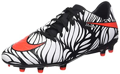 51d54ac7a309 Nike Mens Hypervenom Phelon II Njr Fg Black Bright Crimson White Soccer  Cleat 8.5