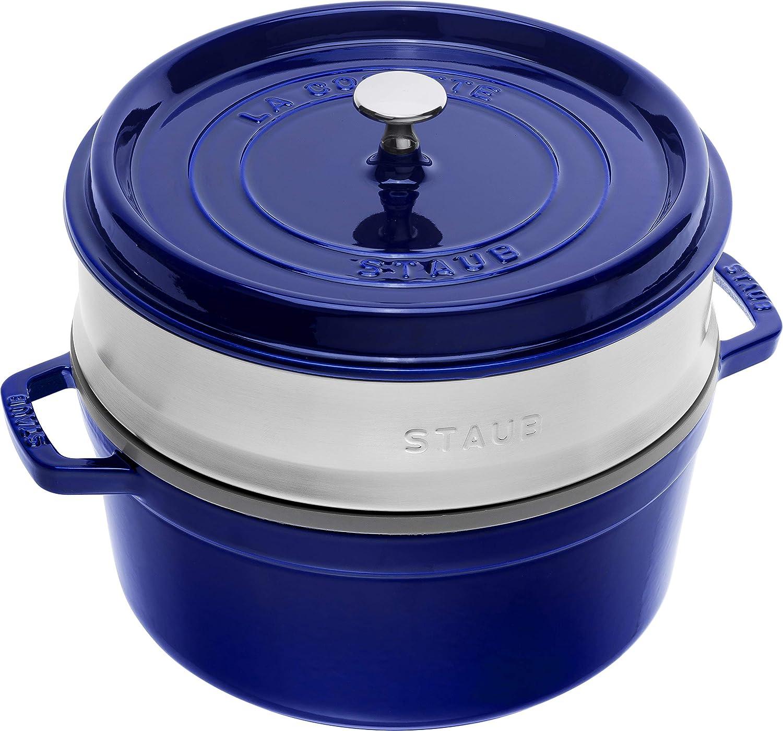 Staub 1133891 Cocotte Ronde avec Cuit-Vapeur Bleu Intense 26 cm
