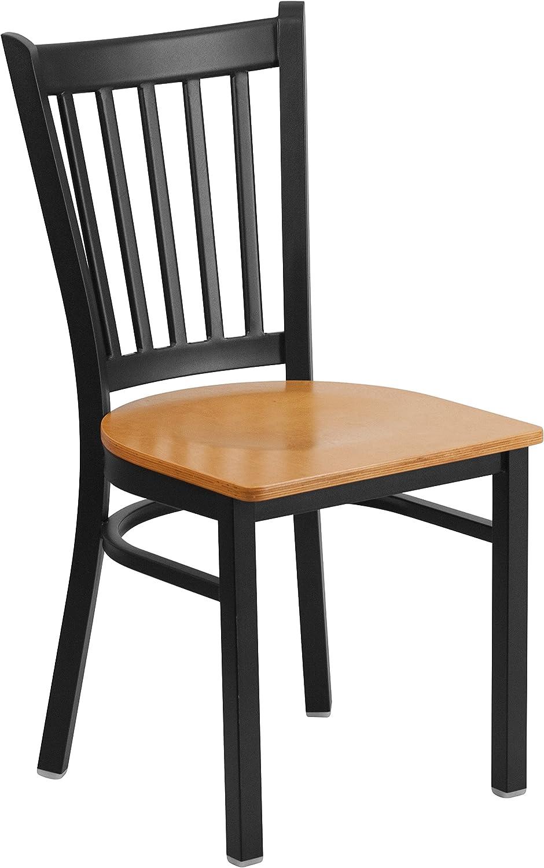 Flash Furniture HERCULES Series Black Vertical Back Metal Restaurant Chair - Natural Wood Seat