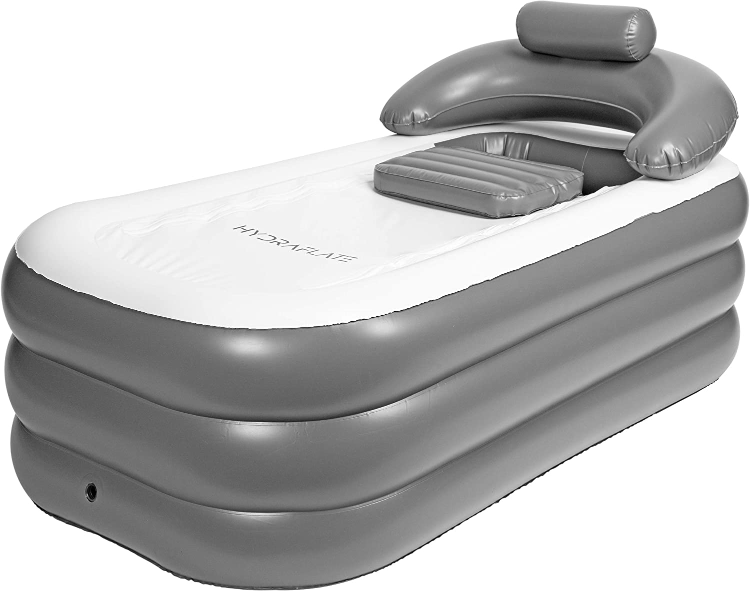 Hydraflate Inflatable Bathtub for Adults & Kids | Portable & Foldable Freestanding Bath for Home or Travel | Mobile Blow Up Spa for Soaking | Single Person Capacity to Compliment Bathroom Shower