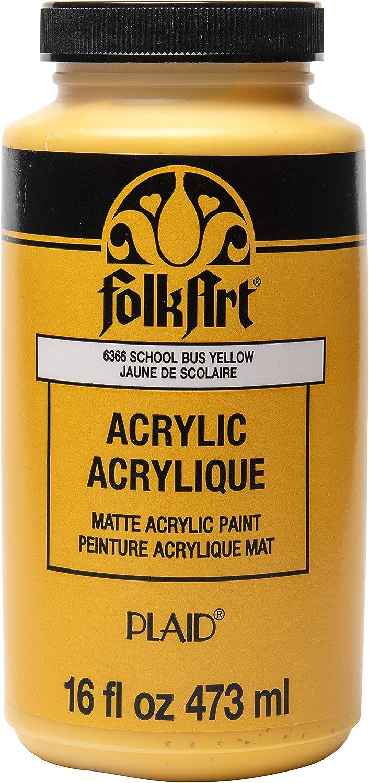 FolkArt Matte Acrylic Paint in Assorted Colors, 16 oz, School Bus Yellow 16 Fl Oz