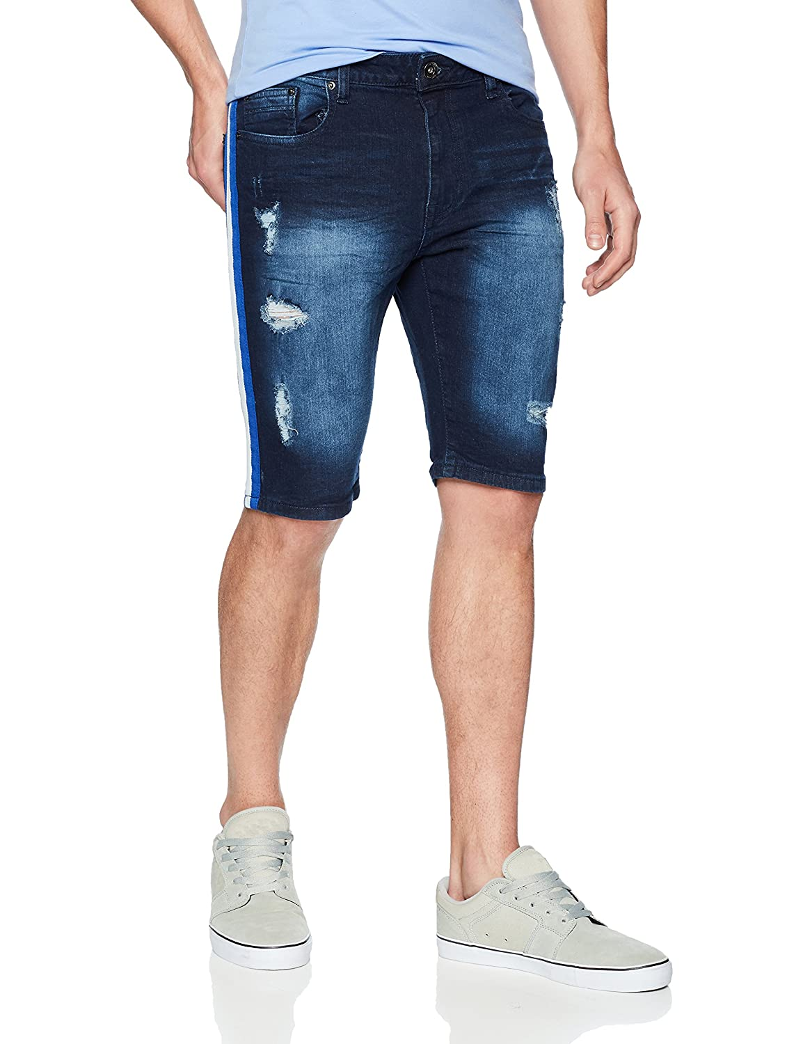 WT02 Mens Standard Stretch Denim Shorts with Destructed Ripped and Repaired