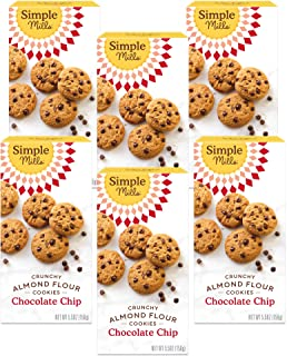 product image for Simple Mills Almond Flour Chocolate Chip Cookies, Gluten Free and Delicious Crunchy Cookies, Organic Coconut Oil, Good for Snacks, Made with whole foods, 6 Count (Packaging May Vary)