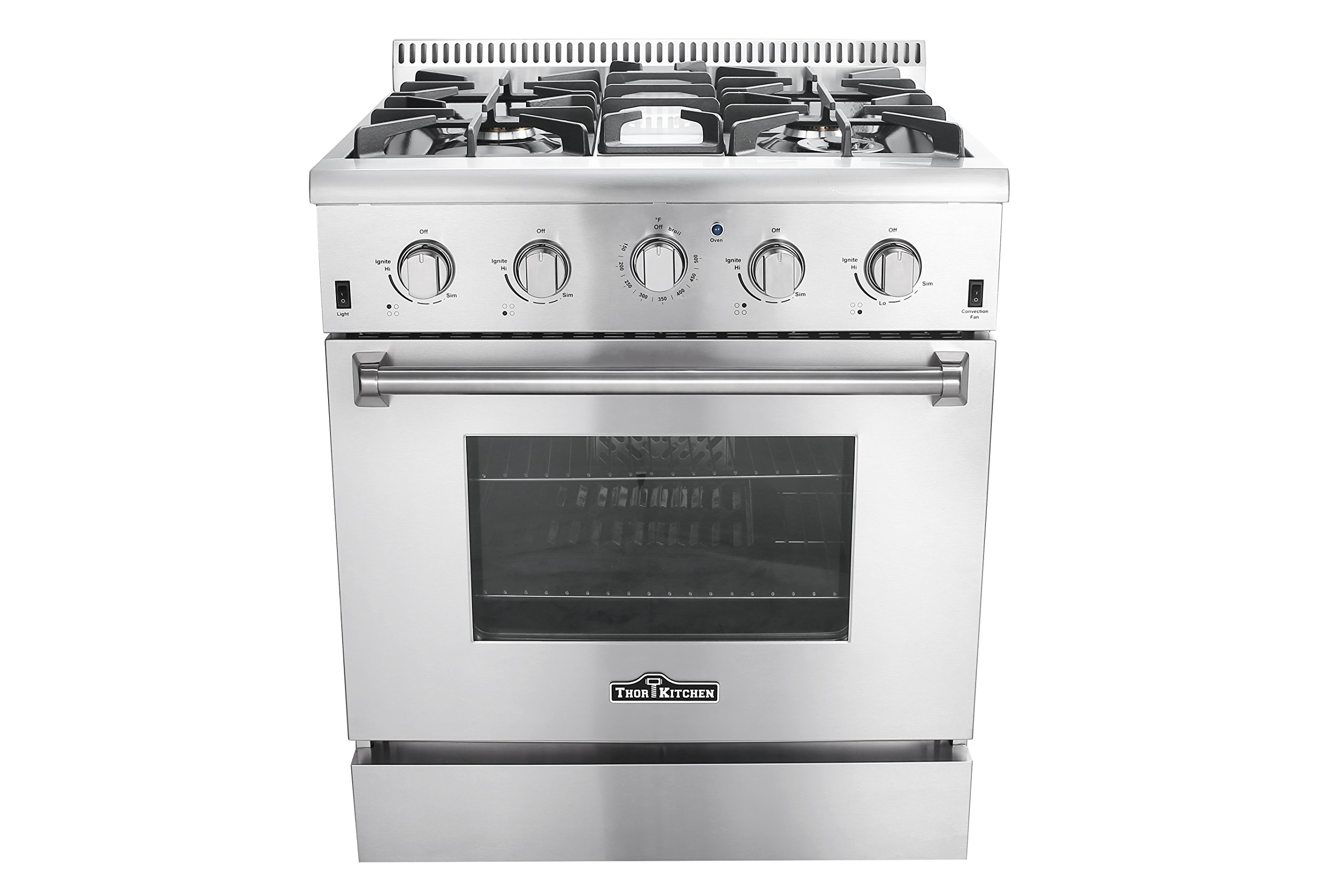 Thor Kitchen HRG3080U 30'' Freestanding Professional Style Gas Range with 4.2 cu. ft. Oven, 4 Burners, Convection Fan, Cast Iron Grates, and Blue Porcelain Oven Interior, in Stainless Steel by Thor Kitchen