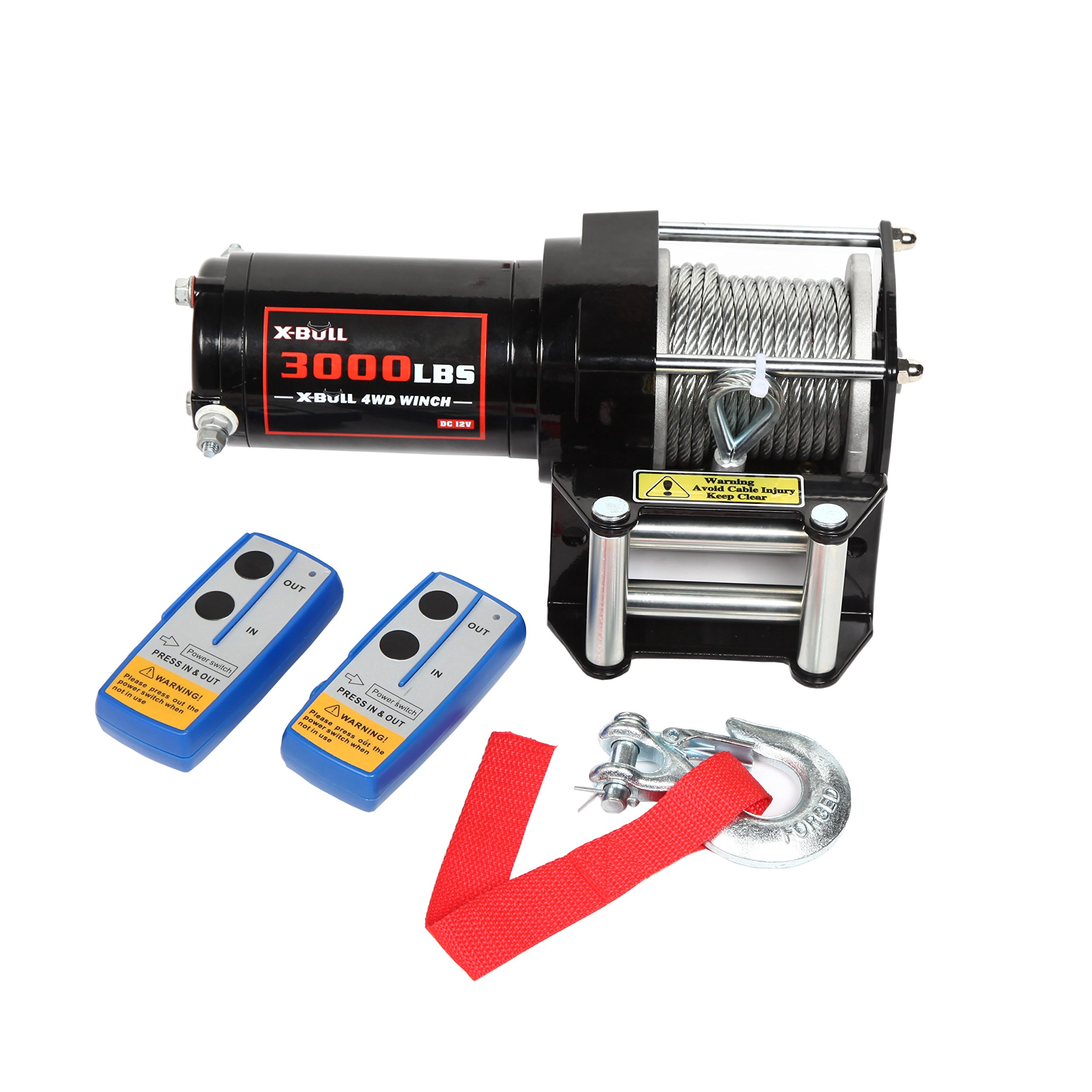 X-BULL 12V 3000LBS/1360kg Electric ATV Winch 2 Remote Wireles control Steel Cable Boat ATV Kit