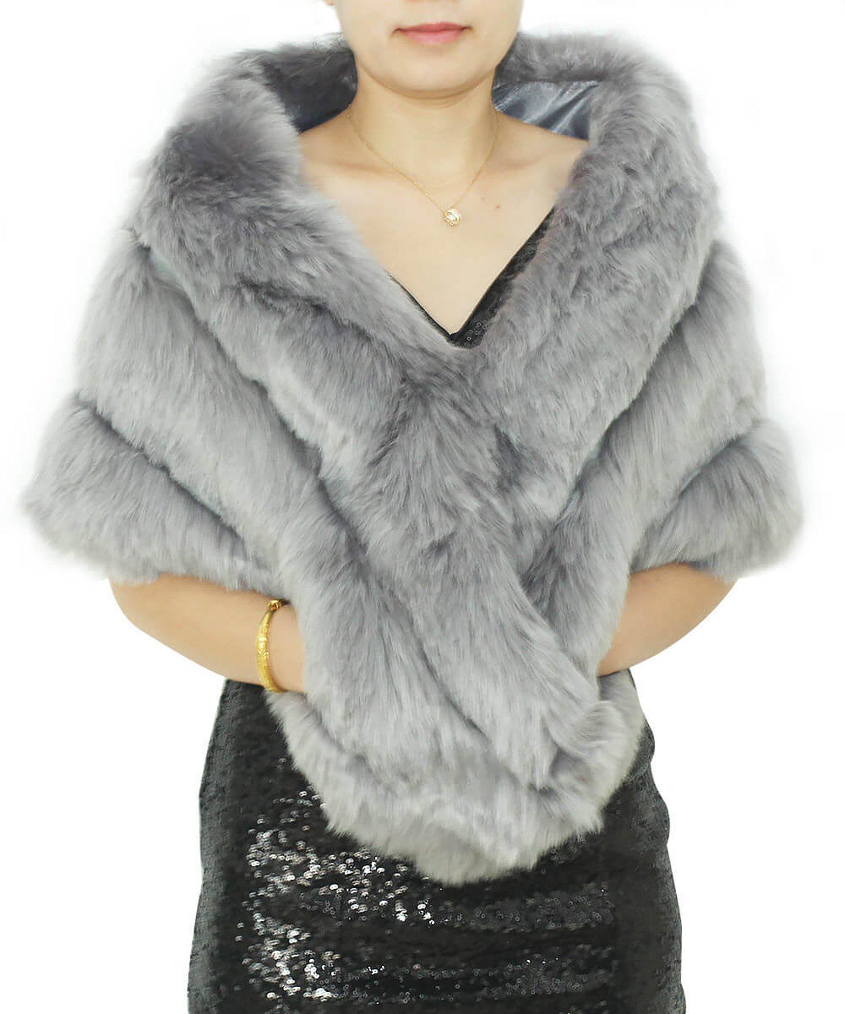 Dressblee Faux Fur Wrap Shawl Shrug Bolero Cape With side pockets, Bridal Faux Fur Jacket coat shawls -grey