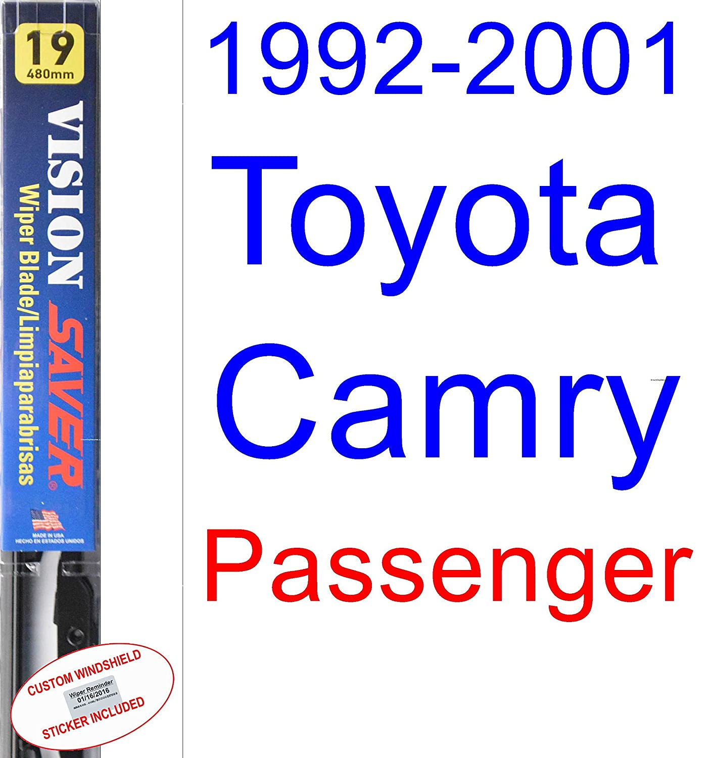 Amazon.com: 1992-2001 Toyota Camry Replacement Wiper Blade Set/Kit (Set of 2 Blades) (Saver Automotive Products-Vision Saver) (1993,1994,1995,1996,1997,1998 ...