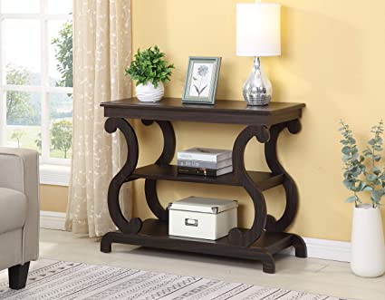 Cappuccino Finish Hall Console Sofa Entryway Accent Table Modern Design 36\