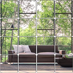 KimDaro Removable Acrylic Mirror Setting Wall Sticker Decal DIY Modern Decoration for Home Living Room Bedroom Decor (15 pcs 20cmx20cm)