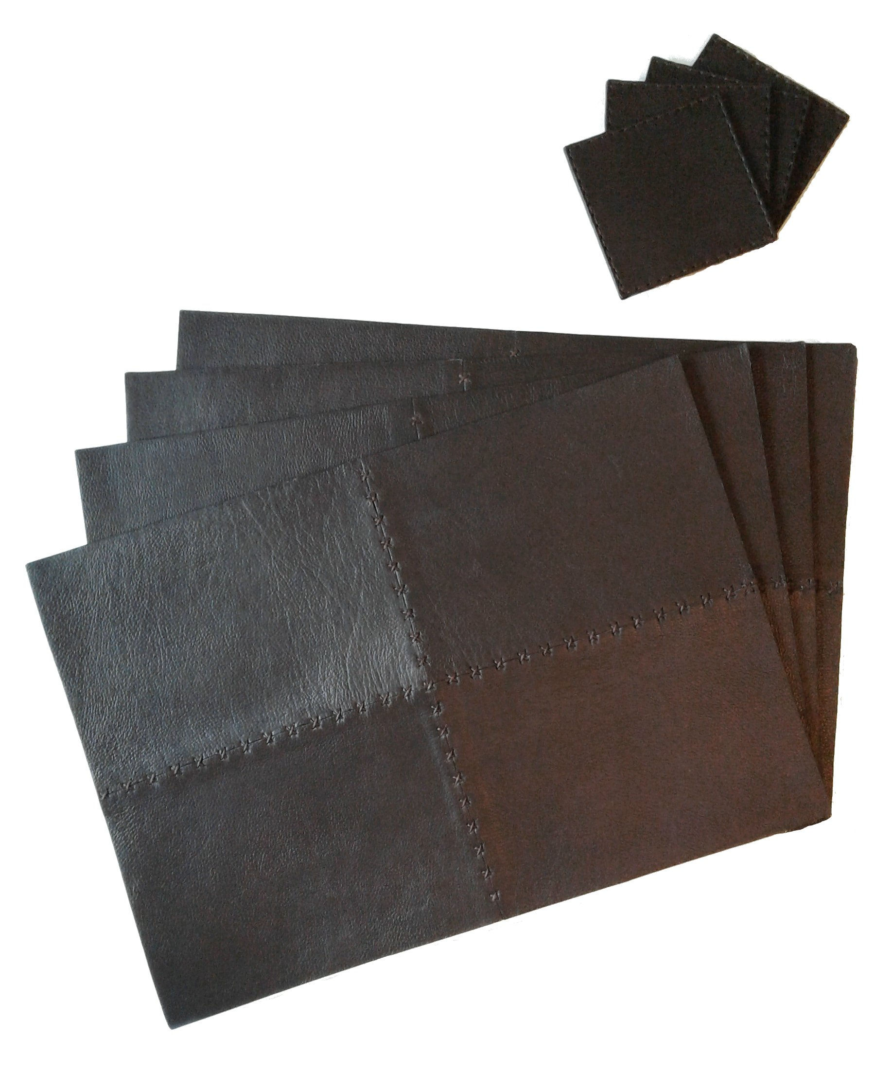 Set of 4 Genuine Leather Placemats Set With Matching Coasters (Chocolate) Luxury High-end Design in Kitchen and Dining Table - Easy to Clean Place Mat 17x12 inches Coaster 4x4 inches