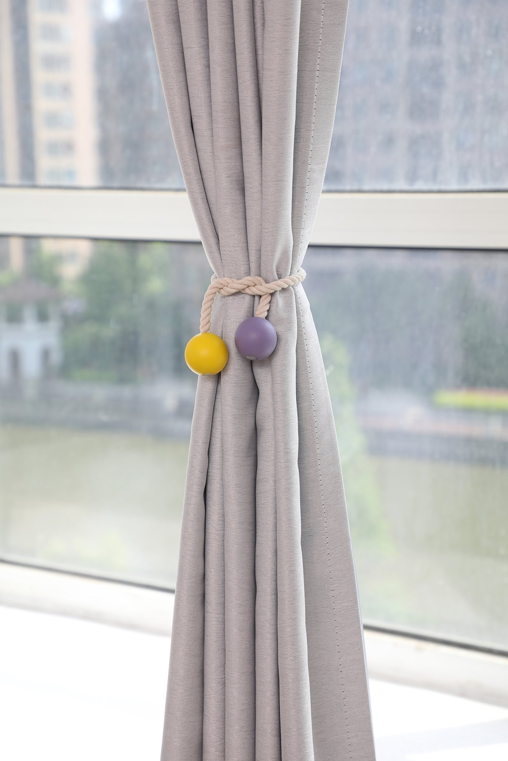 YIDIE 2 Pair Magnetic Curtain Tiebacks Rope-Window Treatment Hardware Curtain Holdbacks Drape Holder for Home Office,Beige by YIDIE (Image #3)