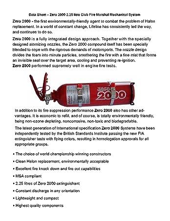 Lifeline USA 2.25L Foam Auto Racing Fire Bottle Extinguisher System Zero 2000