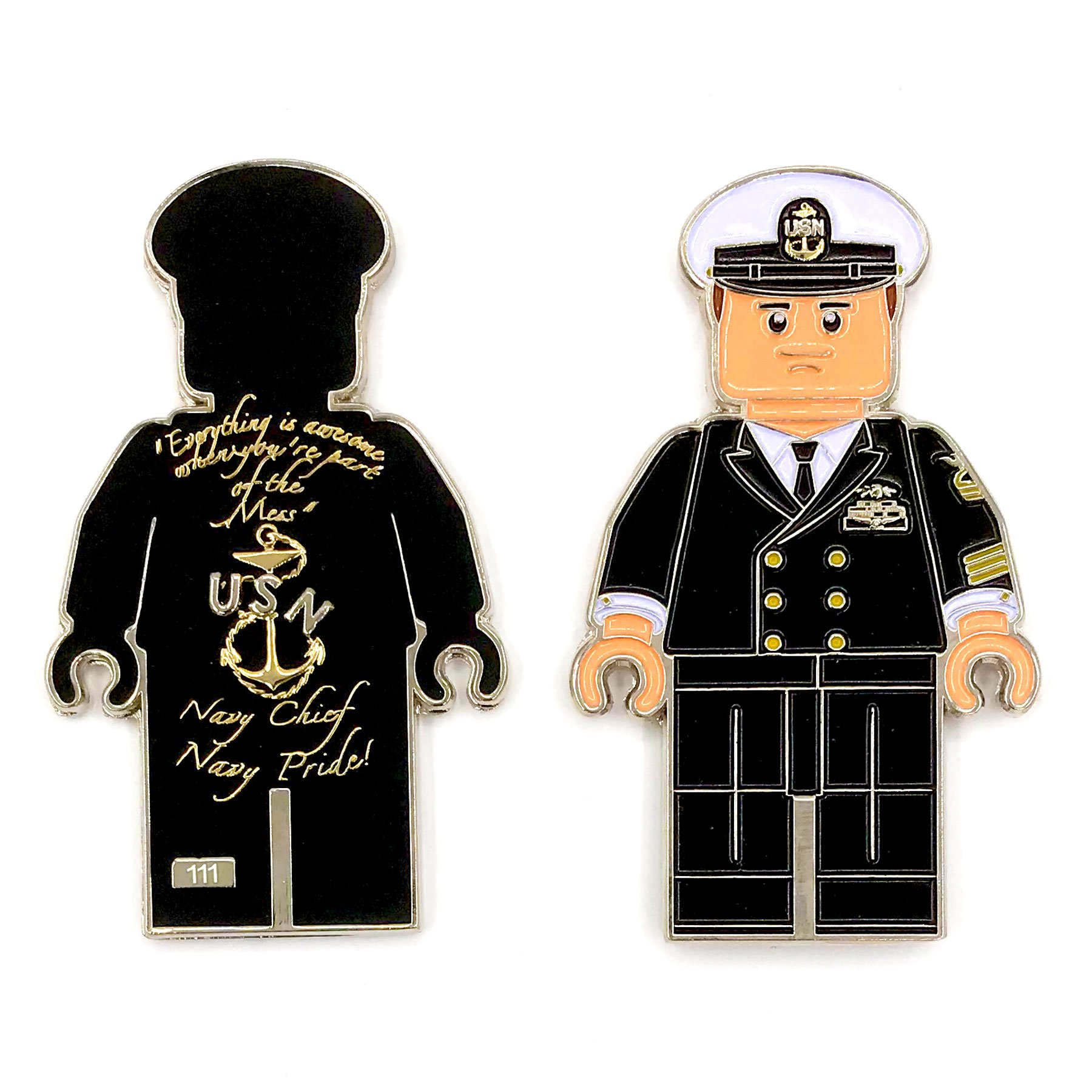 "US Navy Lego Male Officer in Black Uniform, Chief Petty Officer (CPO) Chief Dress Mess ""Navy Chief, Navy Pride"" Challenge Coin M-BLK"