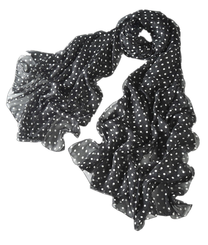 Leggero e Sottile Foulard di Seta Sciarpa Donna Stampa a Pois Polka Dots inVari Colori e Misure Prettystern