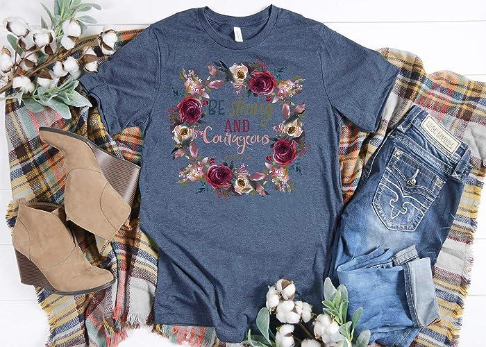adfad9e9e Be Strong And Courageous, Ladies T Shirt, BoHo T Shirt, Spiritual Wreath,  Floral Wreath, BoHo, Christian Faith, Faith Tee, Women's Tee, Spiritual T  Shirt, ...