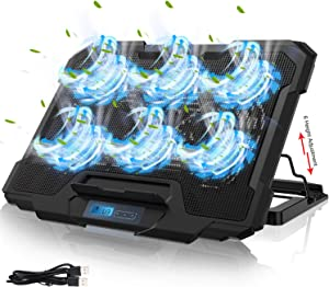 IVSO Laptop Cooling Pad, Laptop Cooler Pad (6 Quiet Led Fans), Dual USB Powered Gaming Laptop Cooling Stand for 15.6-17 Inch Laptop Computer, Wind Speed Adjustable, 5 Stand Height Adjustable, Black