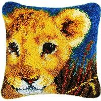 TQQT DIY Latch Hook Rug Kits Cushion Carpet Mat Cover Hand Craft Embroidery Pillowcase Crocheting Yarn Sewing Cartoon Handmade Baby Kids Adults Parents Gift Giraffe