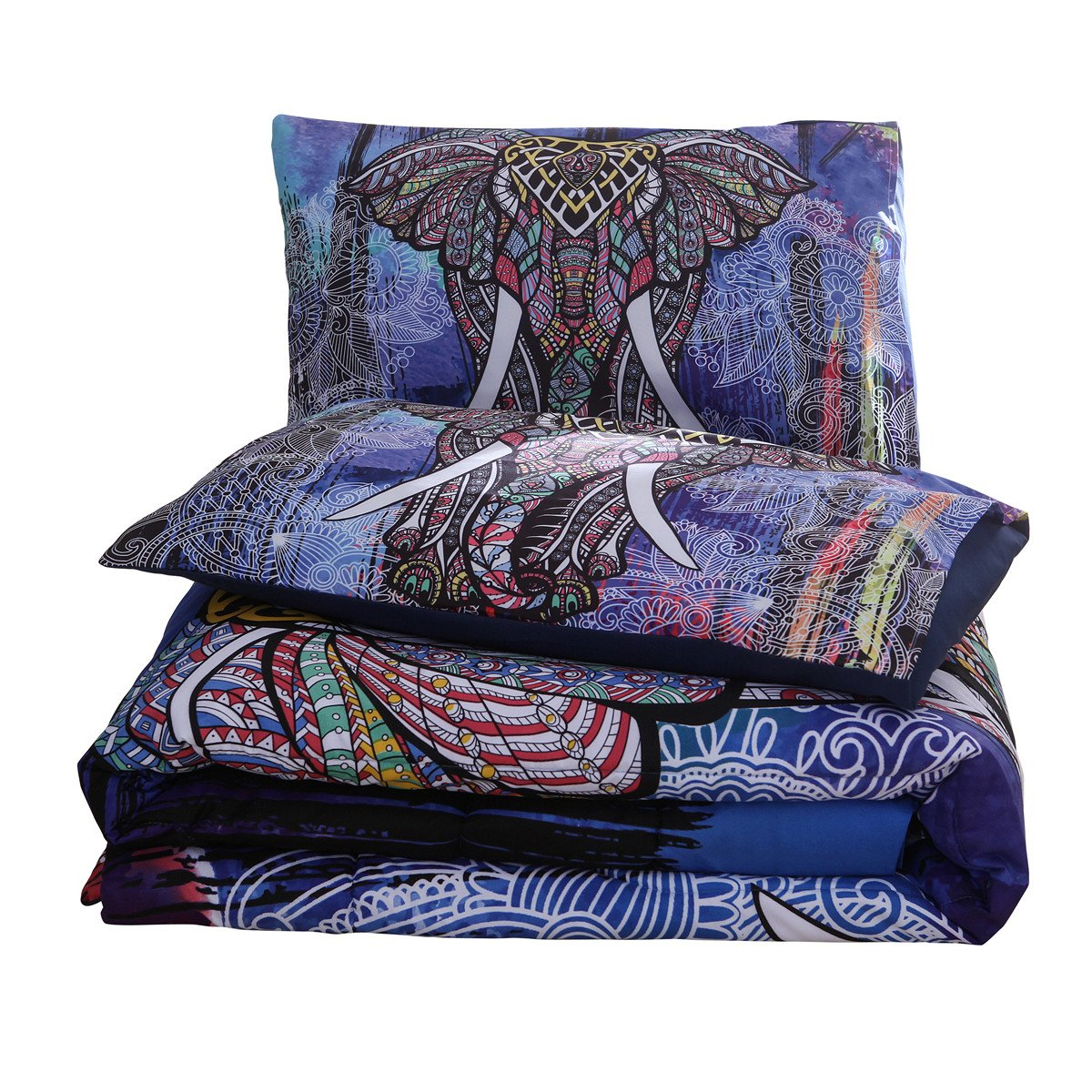 NTBED Bohemian Comforter Set Queen 3-Piece Microfiber Bedding Exotic Elephant Boho Mandala Quilt Sets, Multi by NTBED (Image #8)