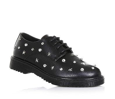 95c623de18 CULT - Schwarzer Schuh mit Schnürsenkeln aus Leder, dekorative Nieten und  Sternchen aus Metall,