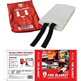 The Grill Armory Fire Blanket! Extinguishes Fires, Protects, US Certified (Small)