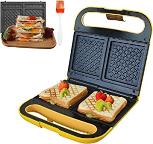Health and Home Sandwich Toaster,Makes Double Sandwiches in Minutes,Electric Panini Grill with Nonstick Surface,Yellow