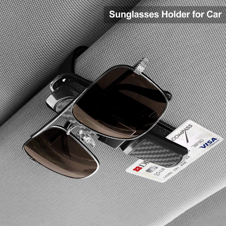 2 St/ück Brillenhalter f/ür Auto Sonnenblende,PAMIYO Car Brillenhalter mit Sonnenbrillenhalterung f/ür Auto Sonnenblende Brillen Clip Aufh/änger Mount 180 /° Rotational Silber+Grau