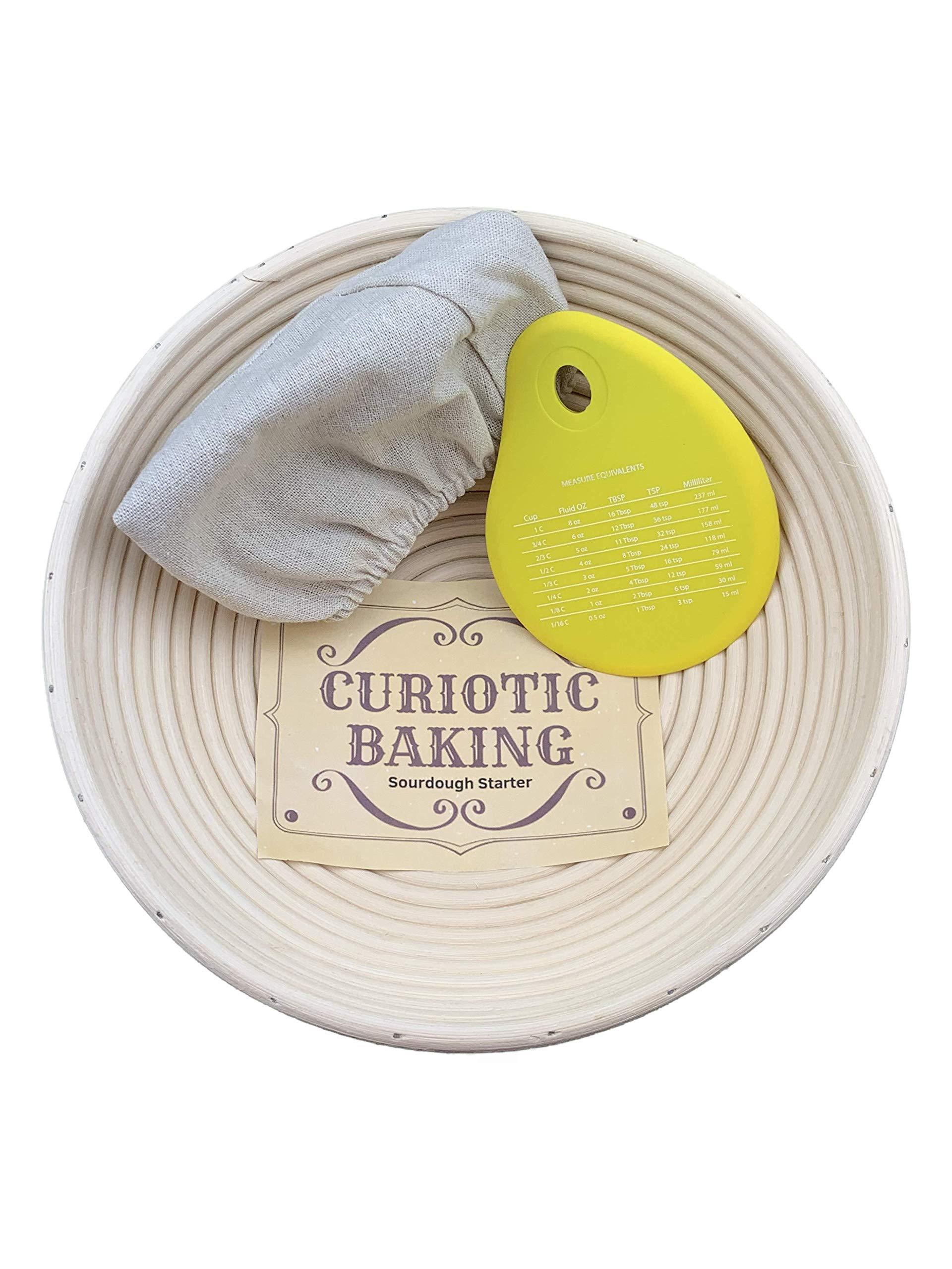 Banneton Proofing Bread Basket w/Silicone Bowl Scraper & Liner for Sourdough Starter - 10'' inch Professional & Home Proofing Basket - Brotform Bread Bowl - Bread Proofing Basket