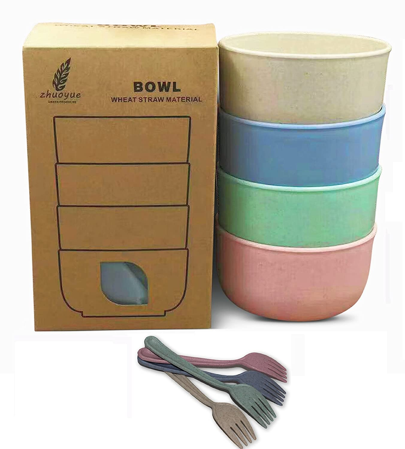 Bowls for Kids, Snacks, Ice cream, fruits, Soups, desserts - Set of 4 with forks - Wheat Straw Eco-friendly Material - BPA FREE, FDA Approved - Assorted Colors - Capacity: 14 oz Hermen