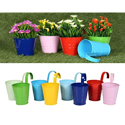 Alpha Living Home Hanging Flower Pots with Detachable Hook, Balcony Planters Metal Bucket, Fence, Window, Patio, Garden (Multi -8 Pcs, 4 Inches) Flower Pots, Wall Hanging Planter Indoor/Outdoor: Garden & Outdoor
