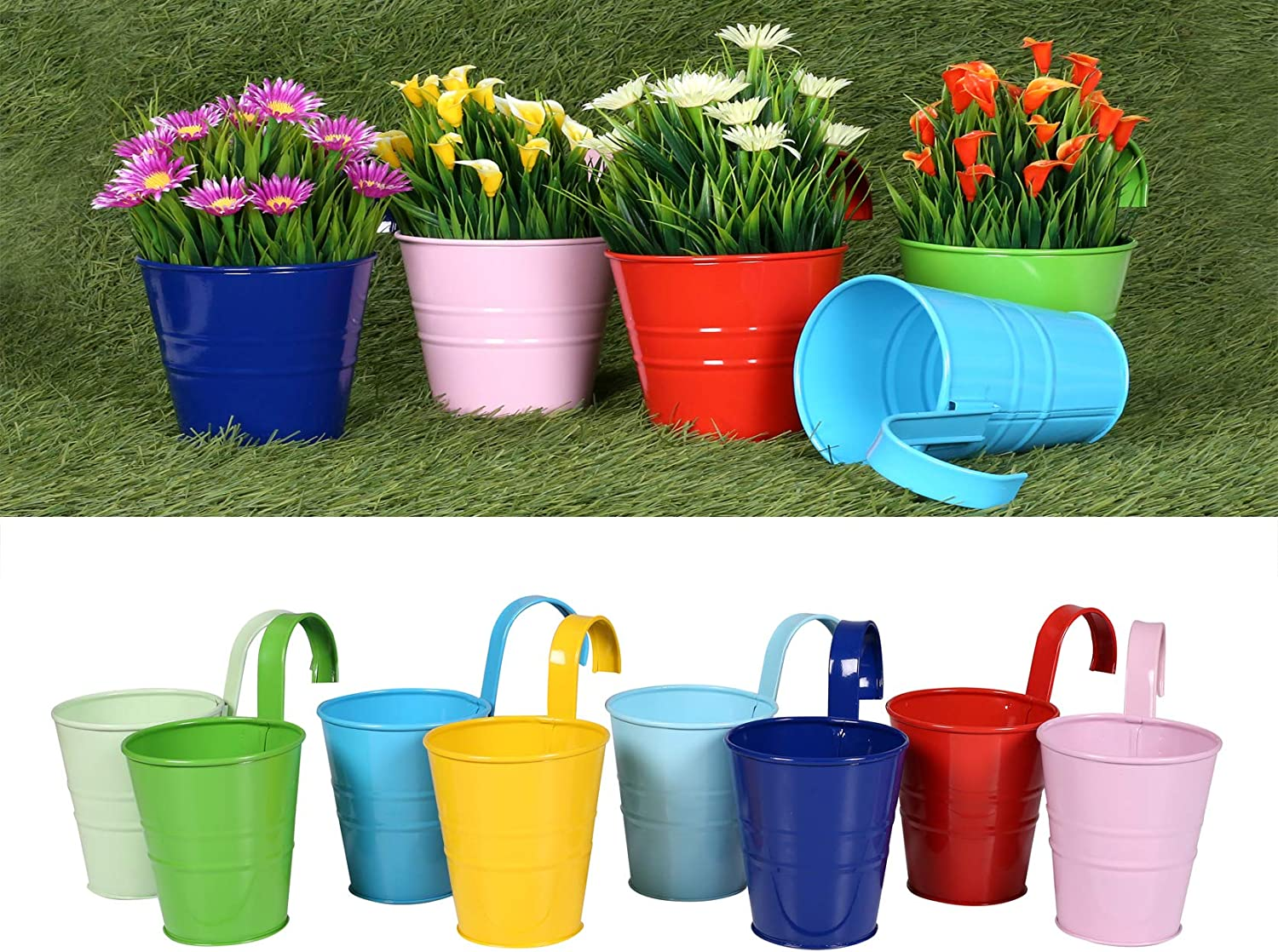 Hanging Flower Pots with Detachable Hook, Balcony Planters Metal Bucket for Railing, Fence, Window, Patio, Garden (Multicolor) 8 pcs Flower Pots, Wall Hanging Planter Indoor/ Outdoor - 4 Inches.