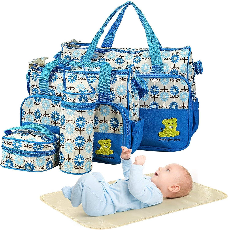 5PCS Diaper Bag Tote Set - Baby Bags for Mom (Blue)