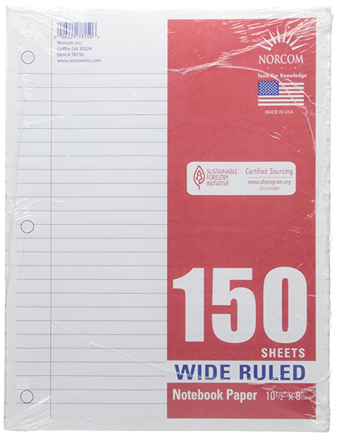Amazon.com: norcom Filler Paper, 150 Count, Wide Ruled (2 ...
