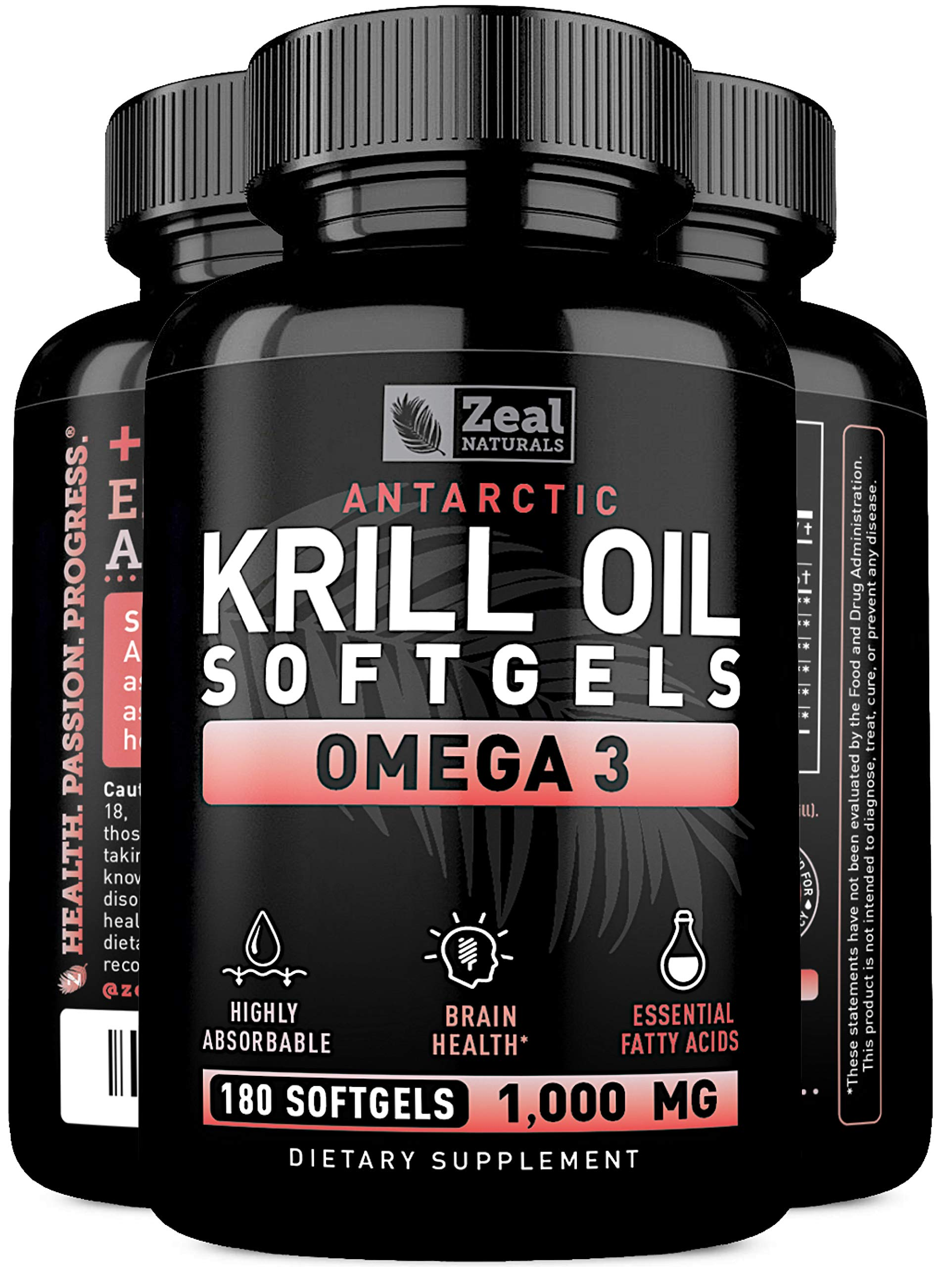 Pure Antarctic Krill Oil + Omega 3 (1000mg | 180 Softgels) Maximum Strength Omega 3 Krill Oil Supplement with EPA, DHA & Astaxanthin - Omega 3 Fish Oil for Joint Support, Brain Health, Heart Health by Zeal Naturals