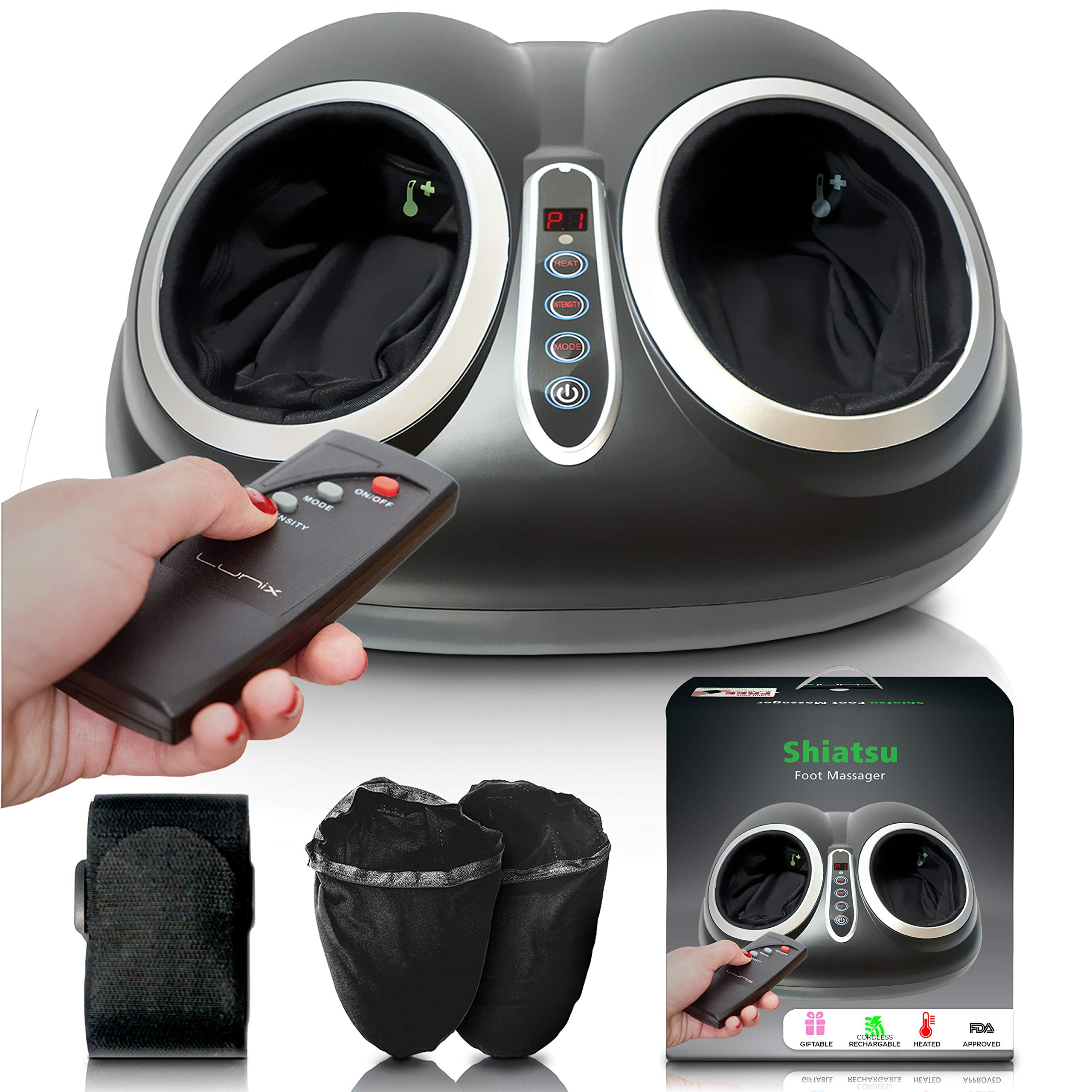 Upgraded Shiatsu Foot Massager Machine - Electric Feet Massage with Heat - Foot Massager Plantar Fasciitis, Neuropathy and Diabetics - Heated Roller Foot Spa - Perfect Pain Relief Massager Lunix