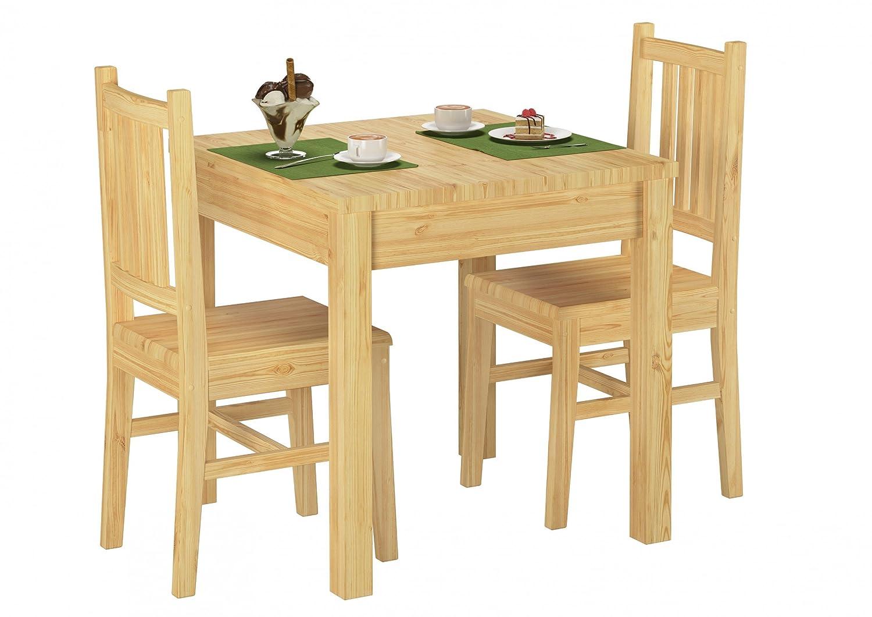 Erst-Holz® 90.70-52 Set Schöne Essgruppe mit Tisch und 2 Stühle Kiefer Massivholz