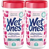Wet Ones Antibacterial Hand Wipes, Fresh Scent, Wet Wipes, 40 Count Canister Twin Pack, (Pack of 2)