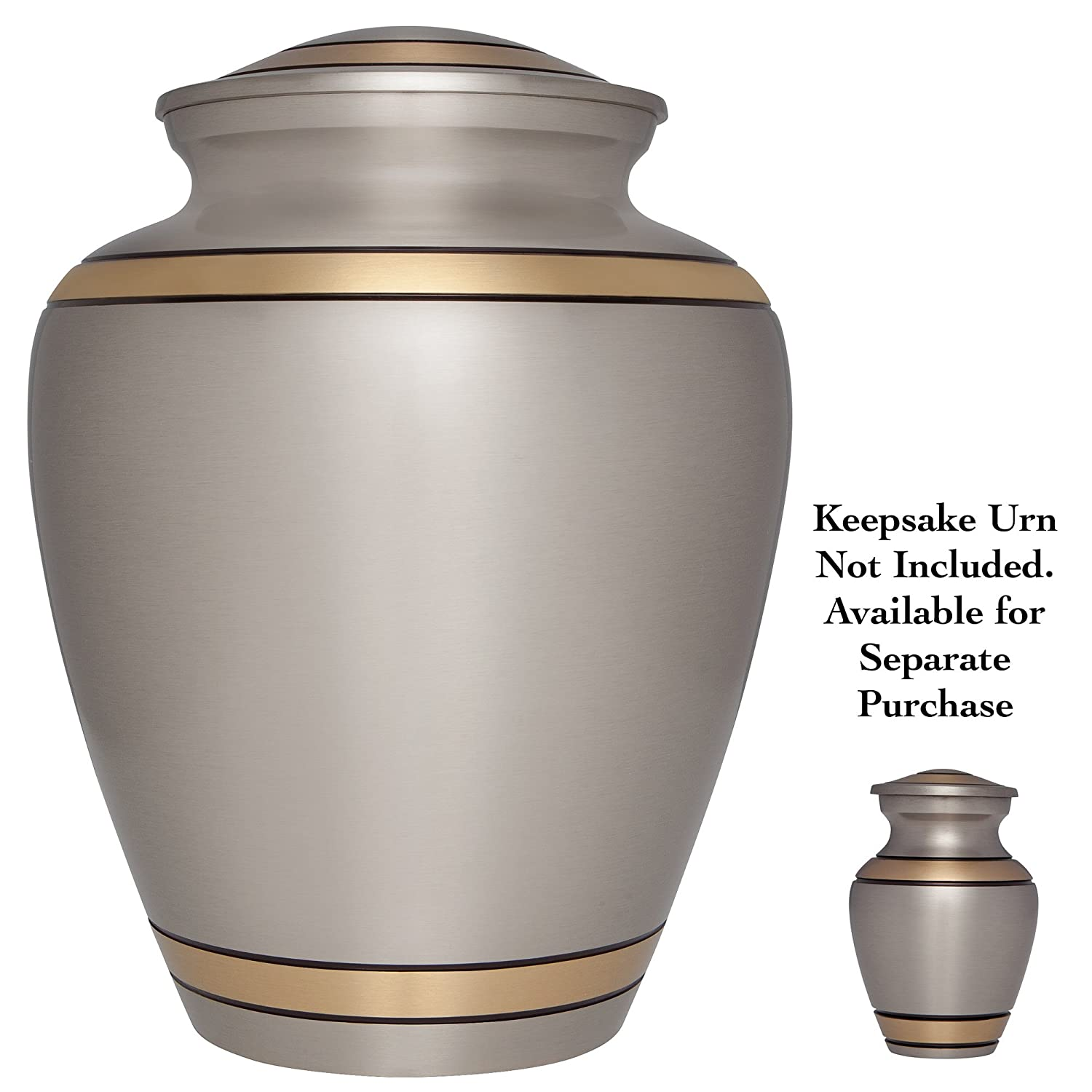 Liliane Memorials Gold Mini Keepsake Urn /• Miniature Funeral Cremation Urn fits Small Amount of Ashes /• Peaceful Embrace Bronze Model /• 3 inches Tall