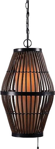 Kenroy Home 93390RAT Biscayne Pendants, Outdoor, Rattan Black Accents