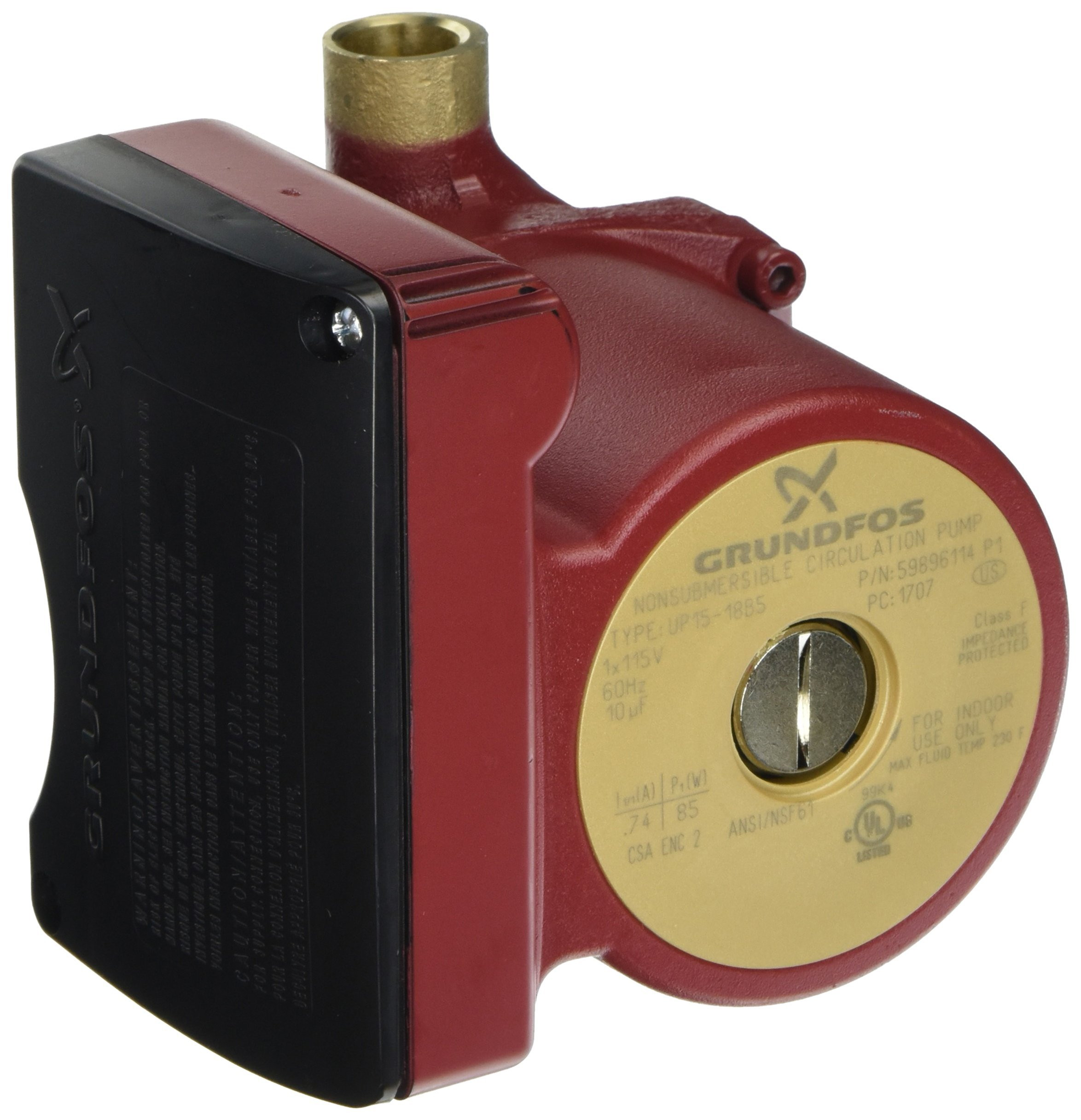Grundfos UP15-18B5 (59896114) Pump, 1/2'' Sweat End Open System Circulator, 1/25 HP 115V - Bronze