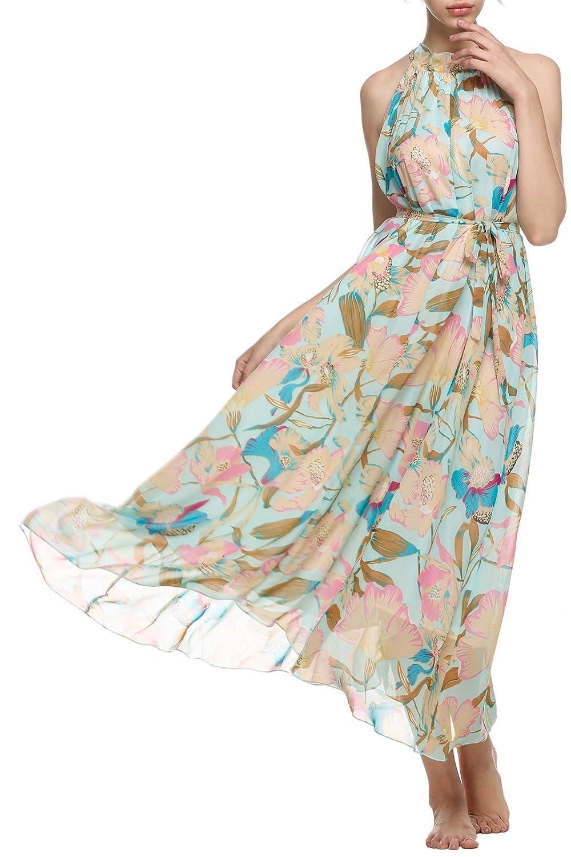 CRAVOG Damen Maxikleid Sommerkleid Strandkleid Bohemian Lang Kleid