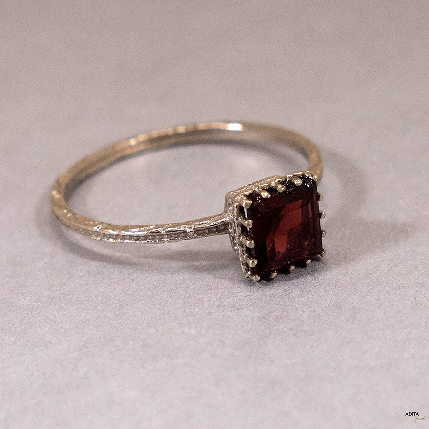 Delicate Jewelry Gift for Women 14K Solid Gold Natural Red Garnet Ring White Gold Dainty Solitaire Ring Handmade Unique Promise Ring Capricorn January Birthstone 5x5mm Genuine Square Gemstone