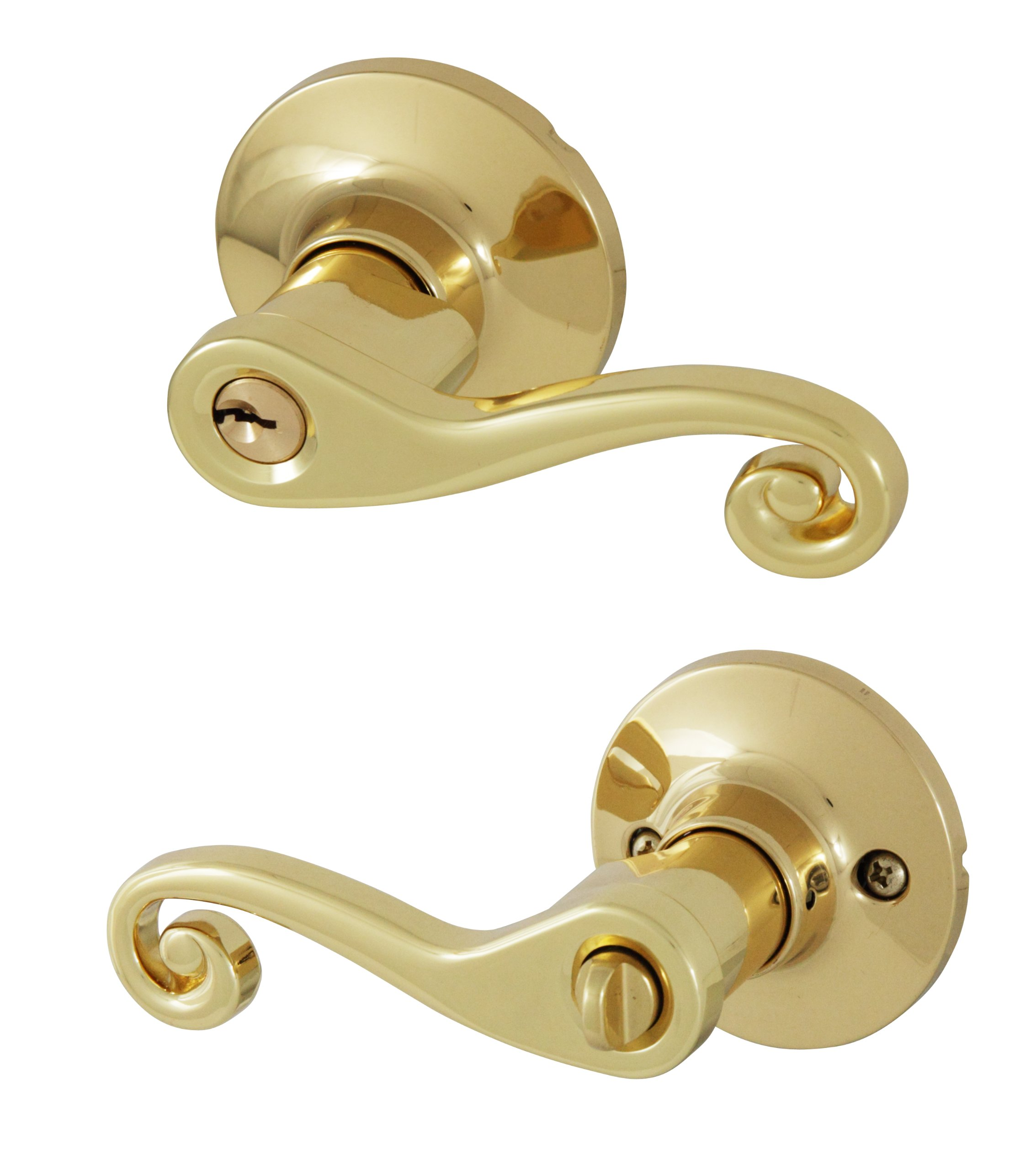 Honeywell 8108001 Scroll Entry Door Lever, Polished Brass